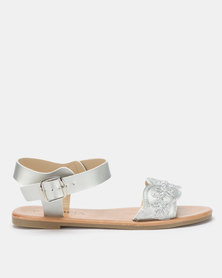 Utopia Embroidered Sandals Silver