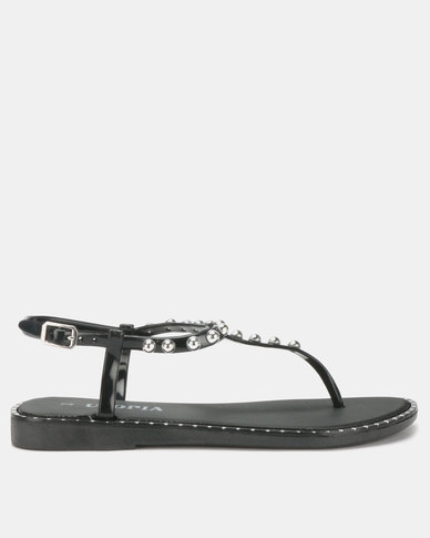 Utopia Studded Jelly Sandals Black