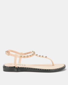 Utopia Studded Jelly Sandals Nude