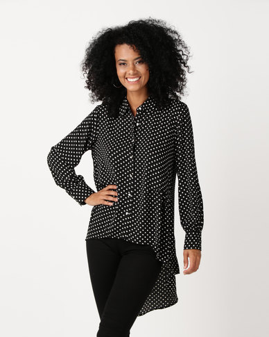 Queenspark Spot High Low Woven Jacket Black & White