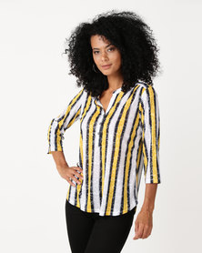 Queenspark Stripe Burnout Knit Top Yellow