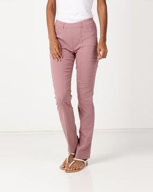 Queenspark Pleated Pocket Stretch Woven Slacks Pink