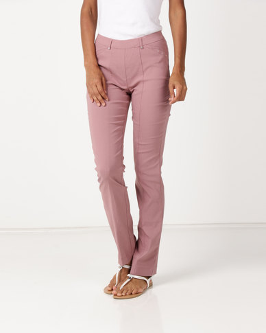 Queenspark Pleated Pocket Stretch Woven Slacks Pink