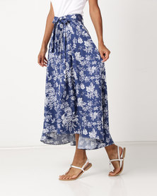 Queenspark Floral Printed High/Low Woven Skirt Blue
