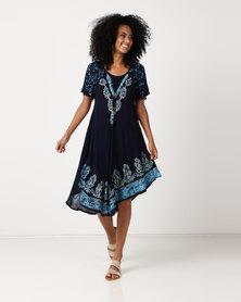 Queenspark Oriental Print Tunic Woven Dress Multi