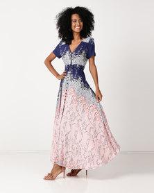Queenspark Floral Print Maxi Woven Dress Pink