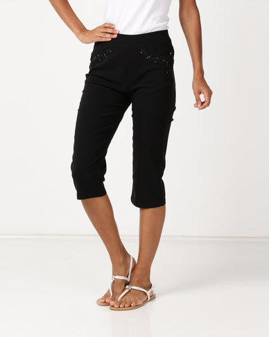 Queenspark Embroidered Pull On Woven Shorts Black