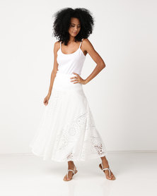 Queenspark Knit Burnout Skirt White