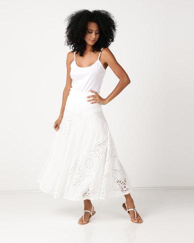 Queenspark Knit Burnout Skirt White