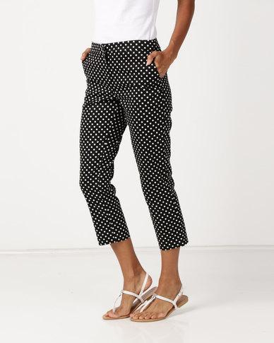 Queenspark Cotton Sateen Spot Woven Trousers Black & White