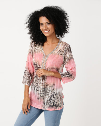 Queenspark Jewel Detailed 3/4 Sleeve Woven Blouse Pink