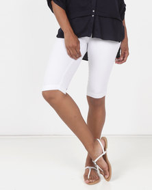 Queenspark Thick Stitch Woven Denim Shorts White