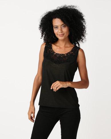 Queenspark Bejewelled Cami Knit Top Black