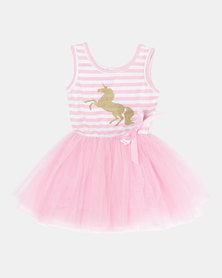 Bugsy Boo Glittery Gold Unicorn Tulle Dress Pink