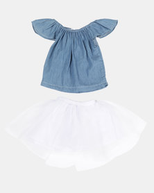 Bugsy Boo Denim Top & Tulle Skirt Blue