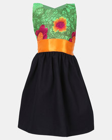 COTYLEDONS Kiddies Tsonga Dress Green/Orange