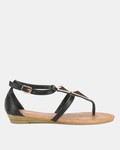 Bata Ladies Flats Sandals Black