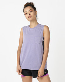 Reebok Performance Stone Wash Muscle Tee Blue