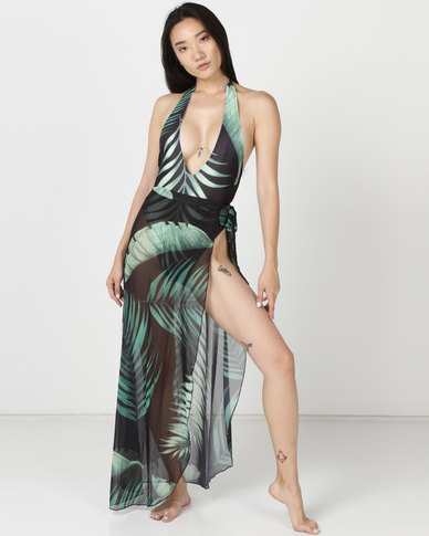 Thabooty's Untamable Tropical Print With Skirt One Piece Black