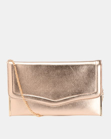 New Look Gabby Flat Plain PU Clutch Bag Rose Gold