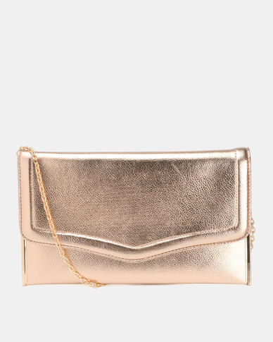New Look Gabby Flat Plain PU Clutch Bag Rose Gold