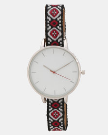 New Look Aztec Woven Print Strap Watch Multi