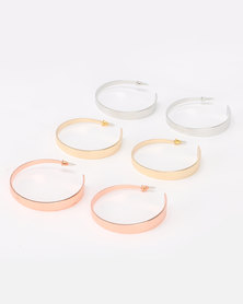 New Look Chunky 3 Pack Hoop Earrings Multi