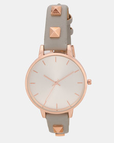 New Look Rose Stud Strap Watch Dark Grey