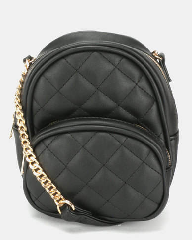 New Look Mini Quilt Chain Shoulder Backpack Black