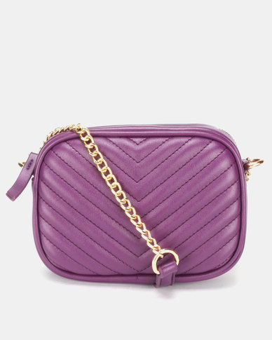 New Look Chevron Quilt Camera Bag Bright Purple