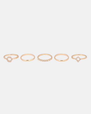New Look Otp Dia Hex/Sq Ring Stack Gold-tone