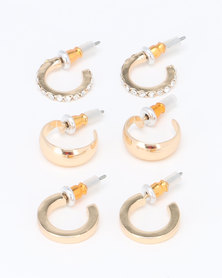 New Look 3 Pack Small Hoop Earrings Gold-tone