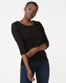 New Look 3/4 Sleeve Fine Knit Top Black