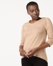 New Look 3/4 Sleeve Fine Knit Top Camel
