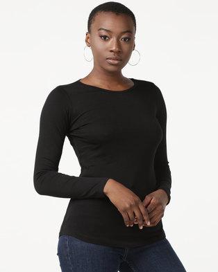 New Look Long Sleeve Crew Neck T-Shirt Black