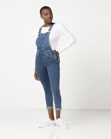 New Look Slim Leg Denim Dungarees Blue
