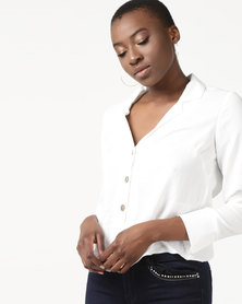 New Look Crepe Revere Collar Boxy Shirt Off White