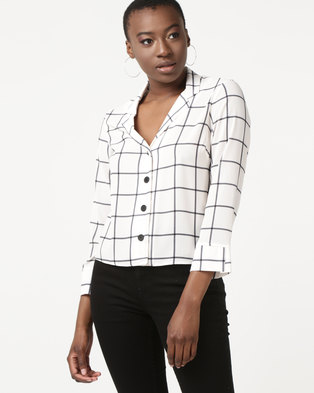 New Look Grid Check Long Sleeve Shirt White
