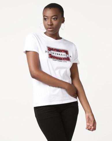 New Look Heartbreaker Leopard Print T-Shirt White
