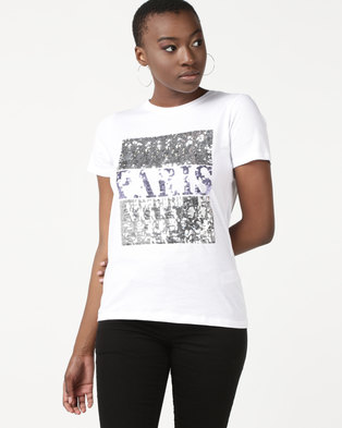 New Look Sequin Paris Slogan T-Shirt White