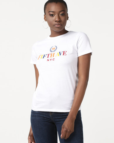 New Look Rainbow Fifth Ave Slogan T-Shirt White