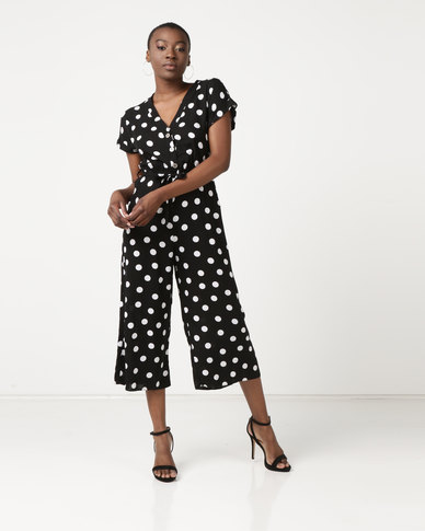 New Look Spot Print Button Front Jumpsuit Black