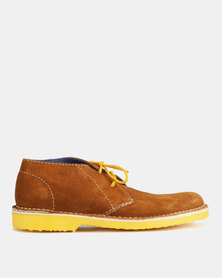 Grasshoppers Ted Buck Suede Lace Ups Biscuit/Yellow