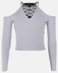 New Look Long Sleeve Lattice C/S Top Grey