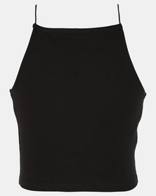 New Look Spaghetti Strap Hi neck Cami 2 Black