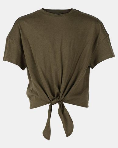 New Look Tie Front MTJ Tee Khaki