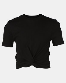 New Look Rib Twist Front Tee Black