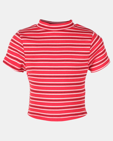 New Look Stripe William Stripe Stand Neck Tee Red