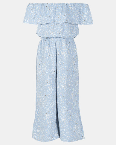 New Look Courtney Frill BDot Jumpsuit Blue