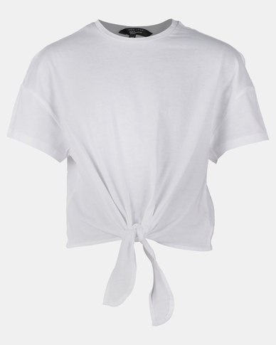 New Look Tie Front MTJ Tee White